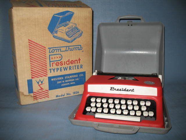 Tom Thumb President Typewriter No. 1826 - $39.99 on GoAntiques. #vintage #antique #decoration #typewriter Circa 1960s: Vintage Wardrobe, Electronics Toys, Vintage Typewriters, Man Vintage, Vintage Antiques, Vintage Toys, Toms Thumb, Models Toys, Antiques Decor