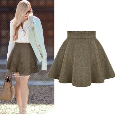 USD11.99Cheap Fashion High Waist Solid Khaki A Line Mini Skirt