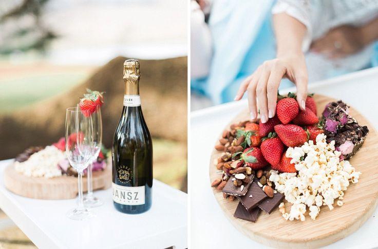 Champagne, strawberries, chocolates, popcorns
