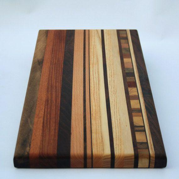 Hardwood Cutting Board w/ End Grain Inlay 8 x 9 by AjjAWood