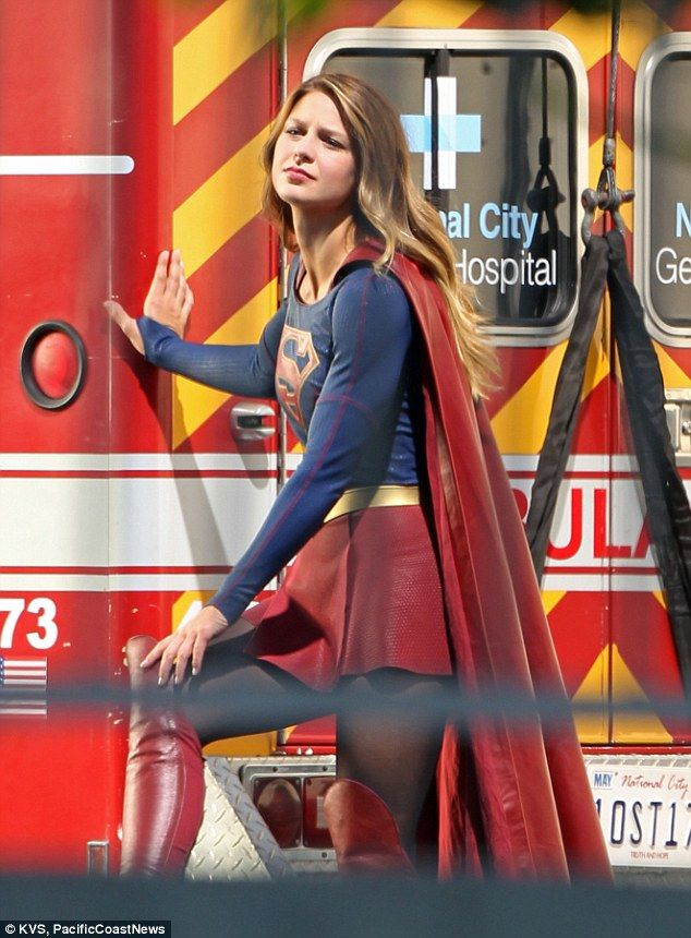 Taking a breather: The actress seemed to be waiting for her cue as she rested beside the ambulance
