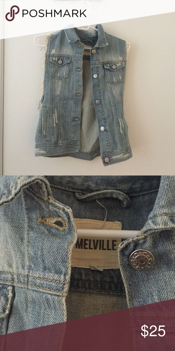 Brandy Melville denim vest Distressed denim brandy Melville vest. Worn once! Great condition. Please let me know if you have any questions! Reasonable offers accepted! Brandy Melville Jackets & Coats Vests