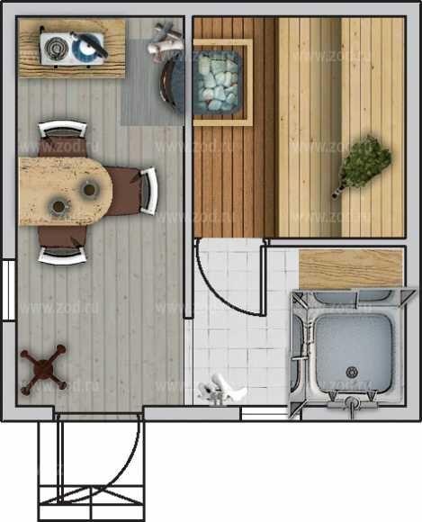 Баня 4.0x4.0 - цена: 303 750 руб., характеристики, планировка, комплектации, срок строительства | бани серии 1 этаж