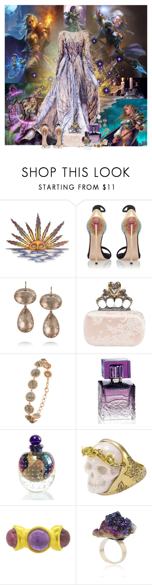 """""""WoW Jaina Proudmoore's Dress"""" by lady-redrise ❤ liked on Polyvore featuring NOVICA, Zuhair Murad, Casadei, Larkspur & Hawk, Alexander McQueen, Majolie Collections, Lalique and Lalaounis"""