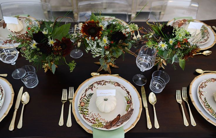 The ladies of @palmbeachlately  set this gorgeous Fall table with hints of gold and jewel tones, featuring our Bistro Gold flatware, Amalia glassware, Bamboo chargers and new Forest Walk dinner plate.