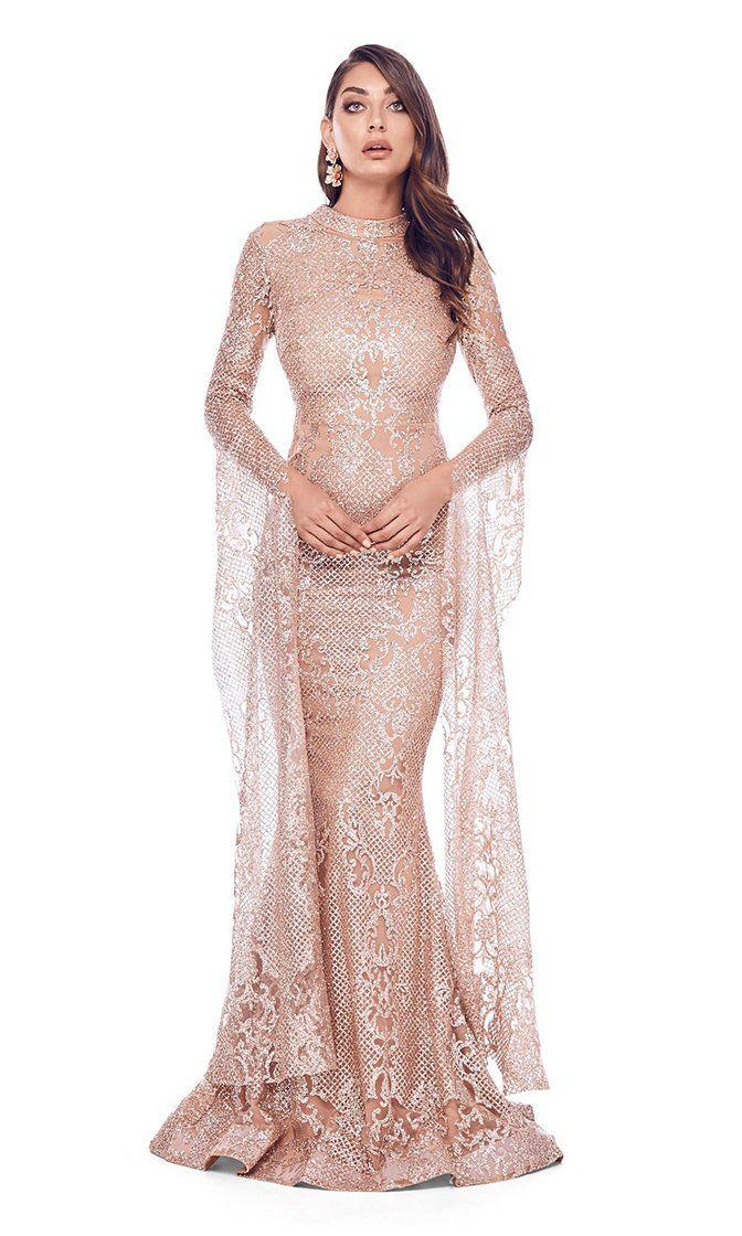 584d670c13c Award Season Rose Gold Glitter Geometric Lace Pattern Long Sleeve Mock Neck  Mermaid Dress