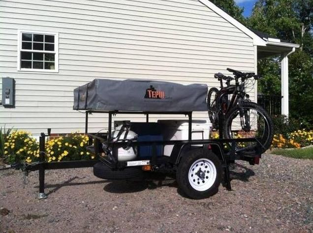 This Basic Utility Trailer Camper Setup With Roof Top Tent
