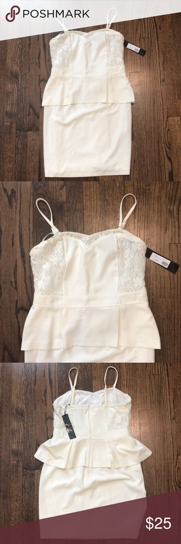 White peplum dress Never worn with tags! White peplum dress with extremely tiny red mark near the mid section, as seen in picture, price reflects! Dresses