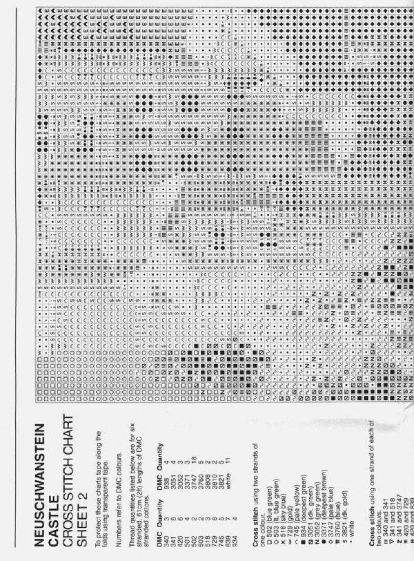 Schema punto croce Castello Neuschwanstein 03