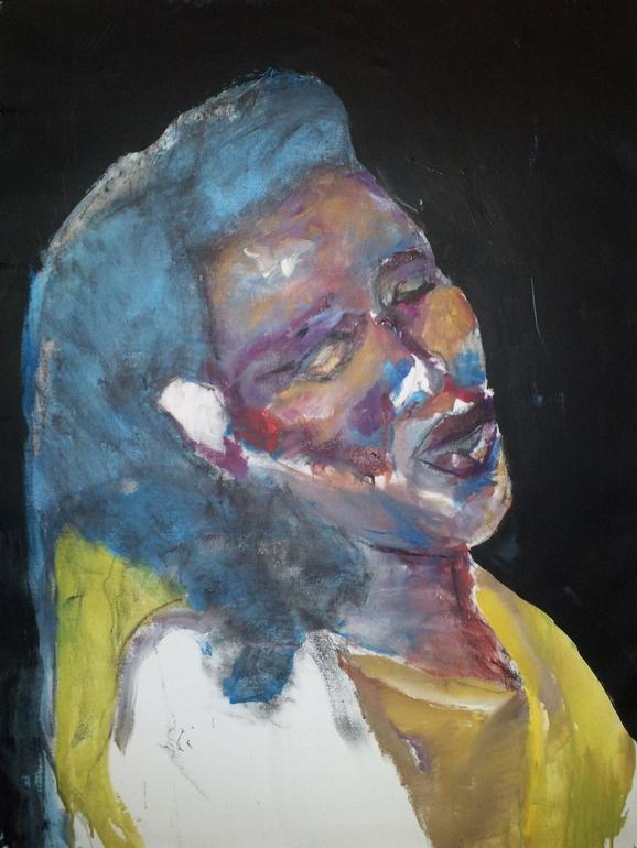 "Sharon Jones sings, acrylic painting 28x37"" by Rima Muna"