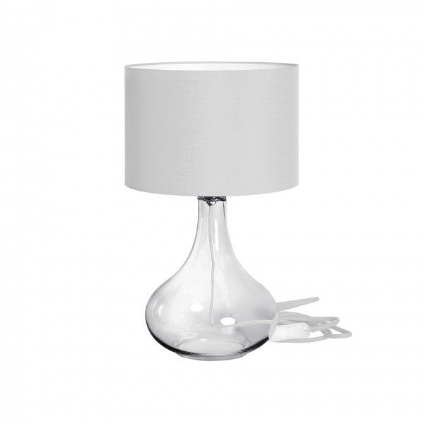 Abajur Incolore, base transparente, fio e cupula branco,  Medidas: 30x50cm,  Material: Vidro e tecido,  Cor: Transparente e branco