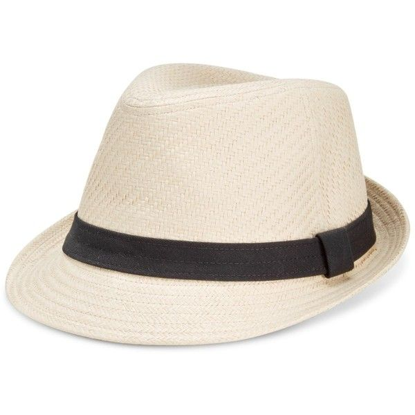 Levi's Men's Straw Fedora ($28) ❤ liked on Polyvore featuring men's fashion, men's accessories, men's hats, natural, mens straw hats, mens straw fedora hats and mens fedora hats