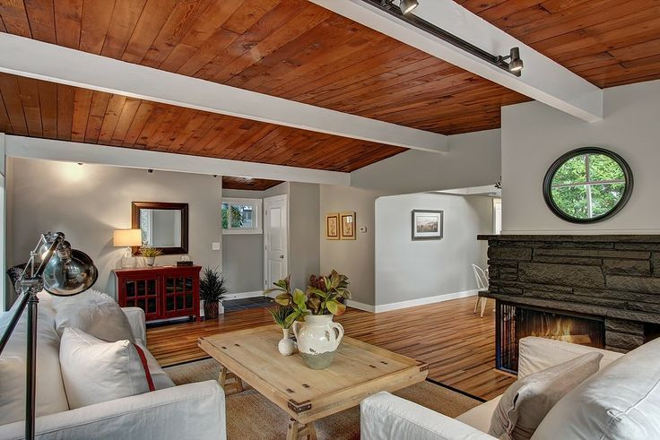 tongue and groove ceilings, midcentury | cedar tongue and groove ceiling with white