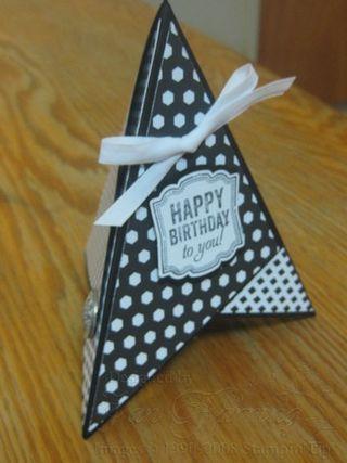 Pyramid Card; Back to Black; Birthday Card