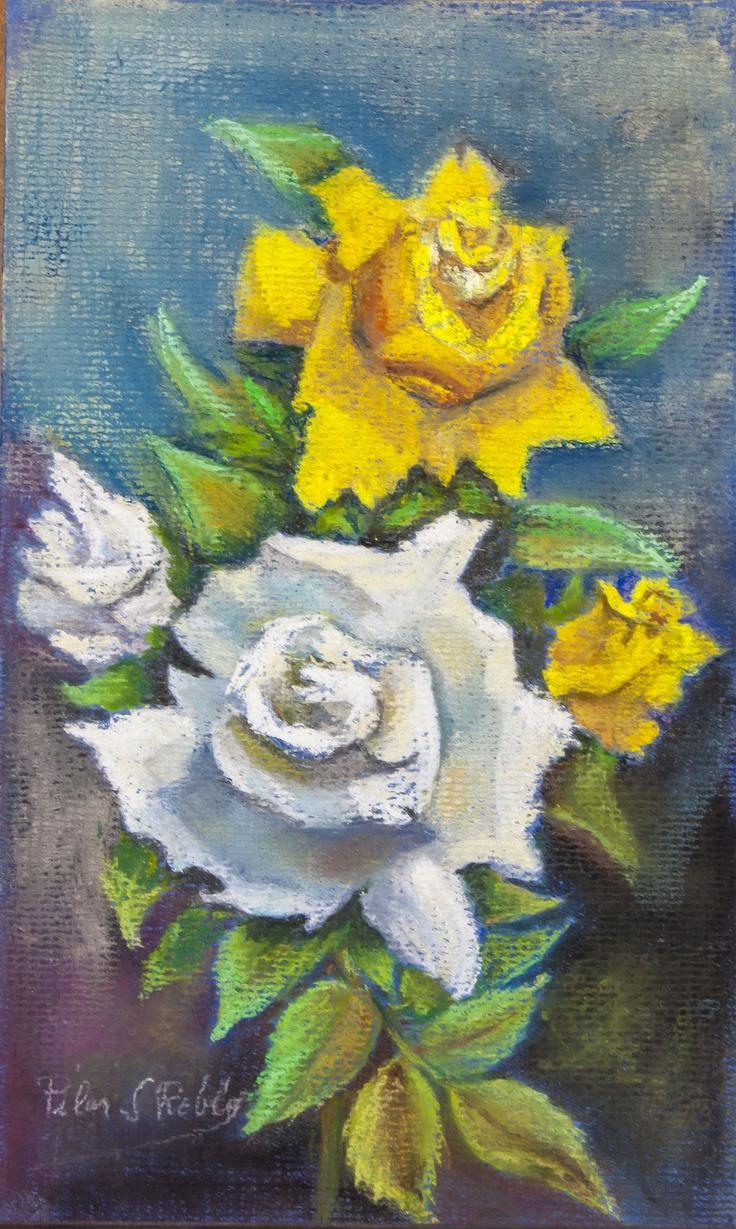 Pilar S. Robles. Rosas Blancas y Amarilla. Pastel