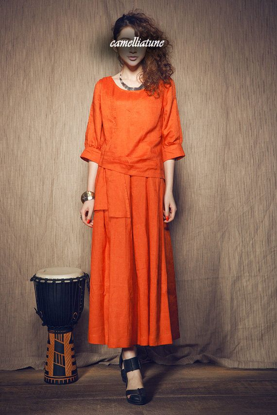 Linen Dress in Orange  Long Dress  Maxi Cocktail by camelliatune, $79.00