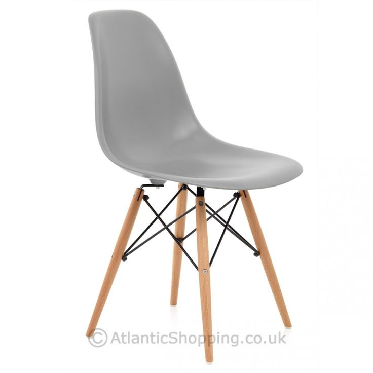 Eames Style Wooden Chair Light Grey