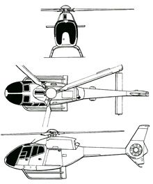Eurocopter EC-120 Colibri. Plan 3 vues du Eurocopter EC-120 Colibri