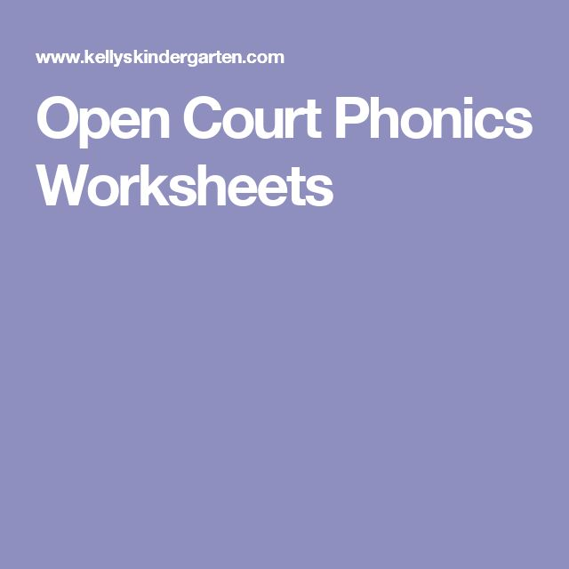 Open Court Phonics Worksheets