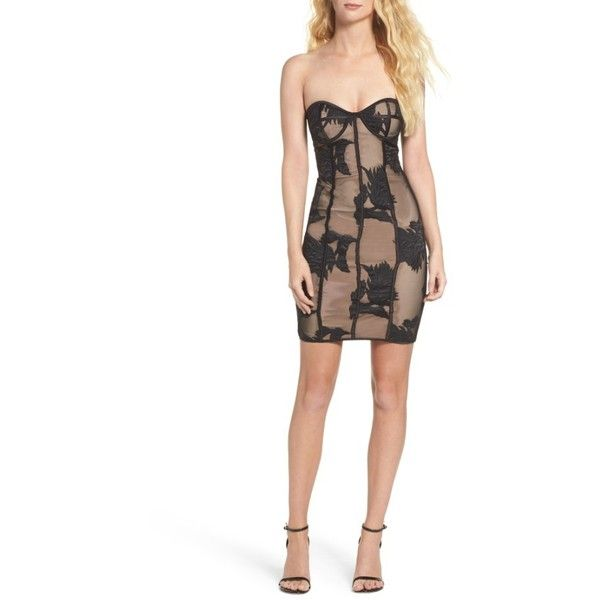 Women's Bardot Flower Mesh Bustier Dress ($149) ❤ liked on Polyvore featuring dresses, black, little black dresses, floral embroidery dress, flower dress, strapless bustier and strapless dress