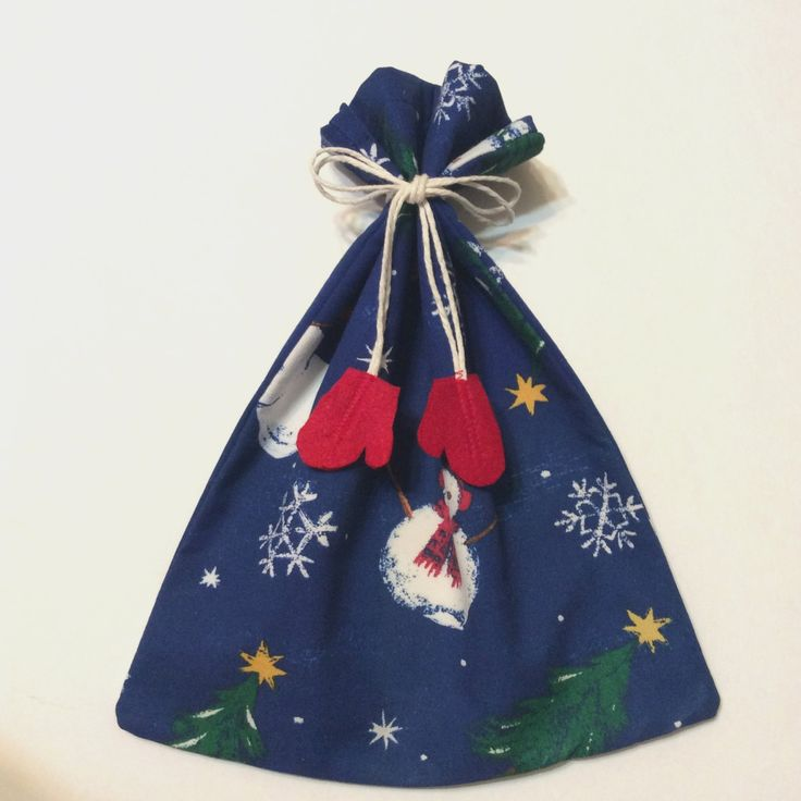 Christmas Fabric Gift Bag, Gift Bags, Snowmen, Snowflakes, Christmas Trees, Mittens string tie, 9.5 x 11, Holiday Gift Bag, Cloth Gift Bag by giftgarbbags on Etsy
