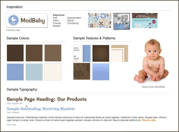 A template style mood board created for an online store selling baby clothing and accessories.