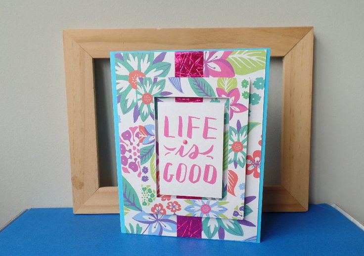 Life is Good Card, Floral Card, SaraPaperCards, Celebrate, Birthday, New Job Card, Summer Card, Summer Vacation Card, Cheers, Congrats Card by SaraPaperCards on Etsy