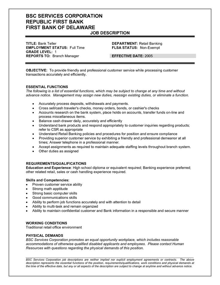 Bank Teller Resume Sample. 461 Best Job Resume Samples Images On