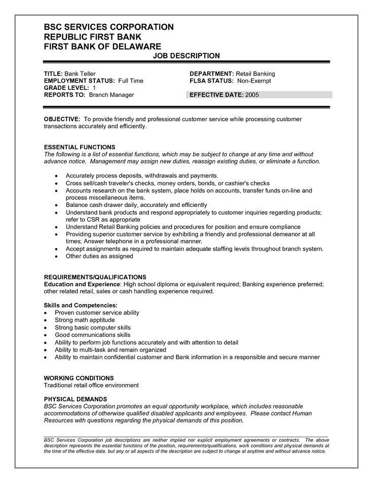 Bank Teller Job Description for Resume - http://resumesdesign.com/bank-teller-job-description-for-resume/