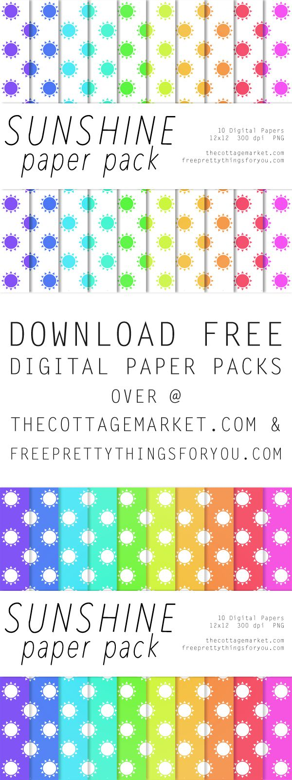 FREE You are my Sunshine Digital Scrapbooking Paper Pack - The Cottage Market