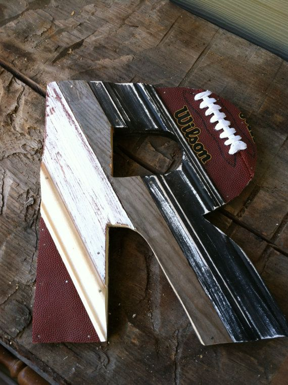 Upcycled Football Letter P...Any Letter by hatchettdesigns on Etsy, $38.00