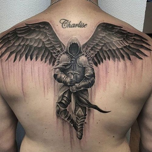 Angel with Wings Back Tattoo – Best Back Tattoos For Men: Cool Back Tattoo Designs For Guys – Men's Upper, Lower, Full Back Tattoo Ideas