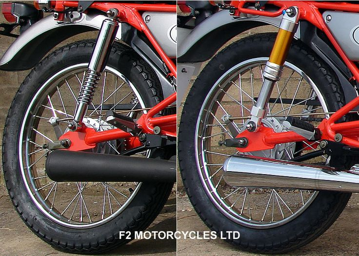 Skyteam Ace 125. Standard rear shocks on the left, look great, but they are a little soft if you are over 60 kg. Air adjustable shocks on the right, look cool and are much better is you weigh more than 60 kg. Find out more http://www.f2motorcycles.ltd.uk/motorcycles.html