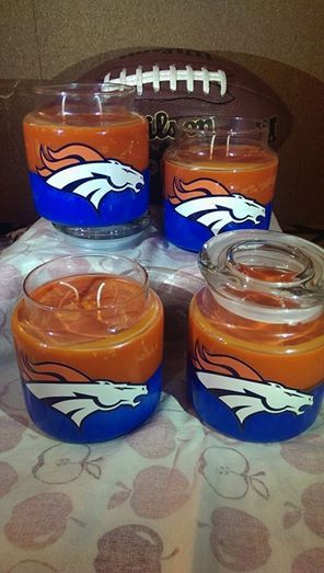 13 oz Hand Poured 2-wick Denver Broncos' Colors Candle with Horse Picture on Etsy, $20.00