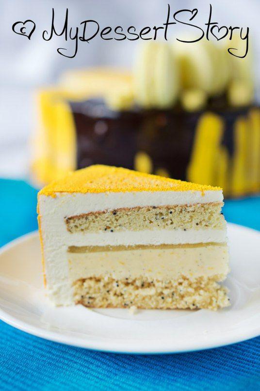 Торт Соренто. Состав: бисквит с Лимончелло и маком, лимонный крем с ванилью. гель с Лимончелло, лимонный мусс с белым шоколадом и чаем Earl Grey