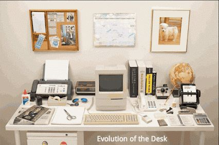 #Travail #Organisation Evolution du #bureau : de 1980 à nos jours ... Impressionnant !