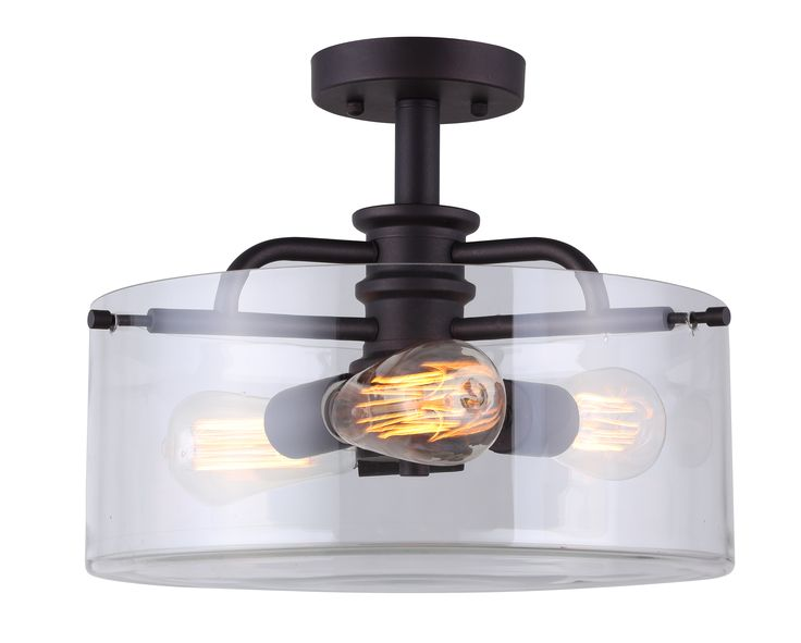 Canarm albany 3 light semi flush with clear glass oil rubbed bronze