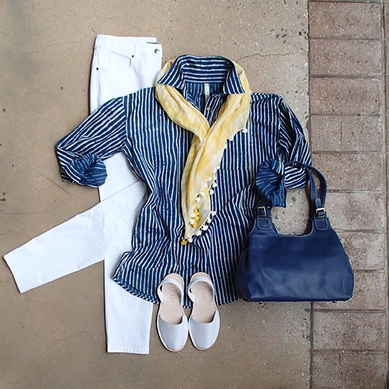 White skinny leg Saints & Lovers jeans are a classic! Add some style with James & Hill stripe shirt, Leather Cargo Dalia bag, Alohas sandals & Violet Hartley scarf