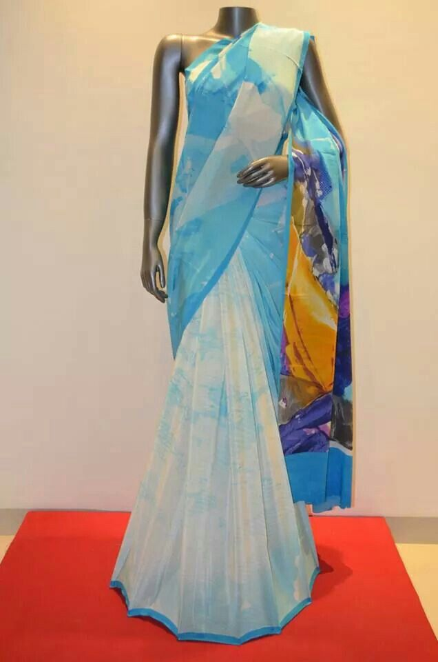 Digital printed crepe saree