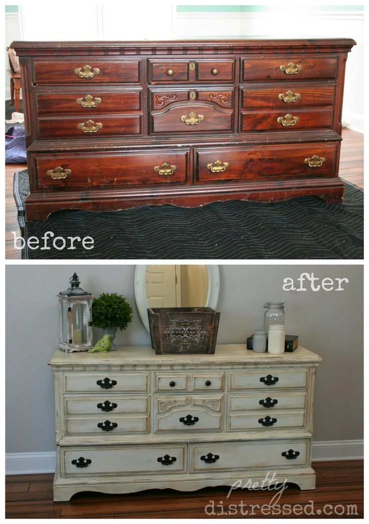 Goodwill Dresser Upcycle Reveal- This look was created using two coats of Annie Sloan Chalk Paint in Old White. I tried a new technique and distressed it before I used my Annie Sloan Clear Wax. I used 100 grit sand paper to distress followed by a coat of clear wax and finished it off with a mix of clear and dark wax. I wanted this really shabby because of all the nicks and dents it has, so I used dark wax on the entire piece versus just in the spots I distressed.