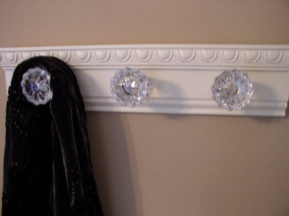 Beautiful WHITE coat rack with 3 glass door knobs by Gotahangup