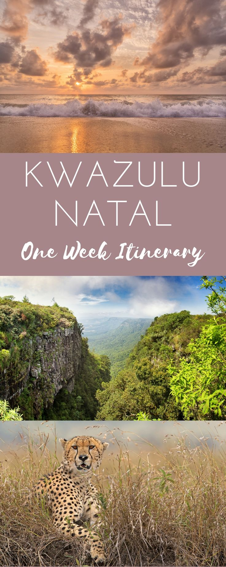 One Week Itinerary for KwaZulu-Natal. An adjustable seven night (or longer) route through KZN, taking in the Bush, Beaches, Drakensberg Mountains, and Zulu Battlefields...