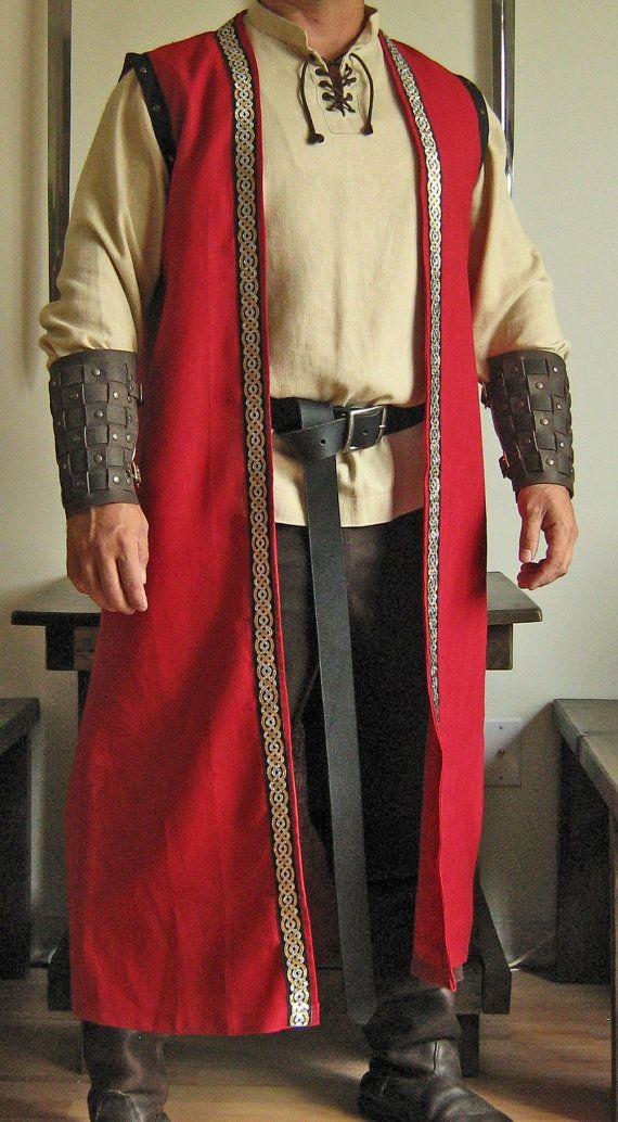 Medieval Celtic Lord King Sleeveless Mid-Calf Coat Vest Jacket.