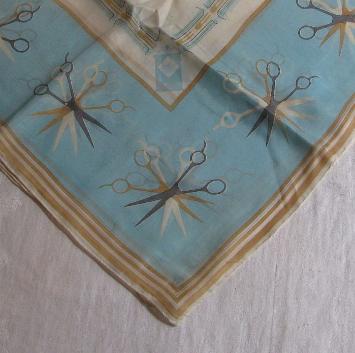 Helene Curtis 1950s Rayon and Silk Scarf - Turquoise, Gold, Grey and White with Scissors, Combs, Razors, Hairpins, Rollers and Hairspray by Snootyparrot on Etsy