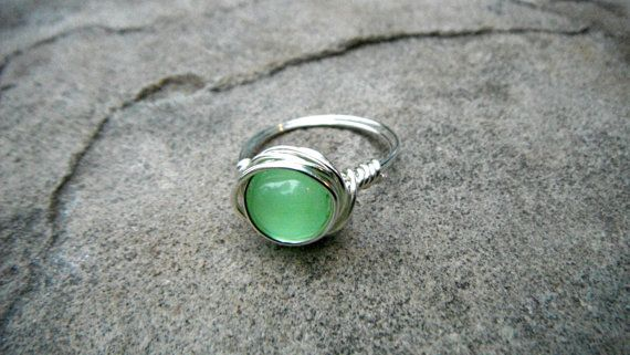 Green Cats Eye Ring Wire Wrapped Ring Green Ring by CaravanOfBeads, $18.00