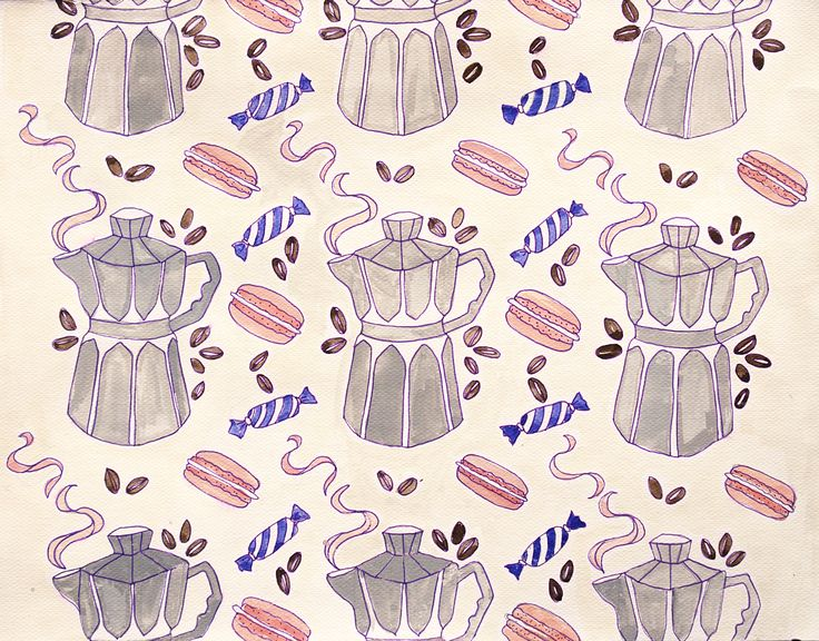 """Meanwhile in Paris"" Pattern design. Watercolour sketch. Coffee, macaroons and chocolate."