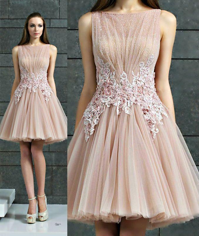 Ed190 A-Line Evening Dress,Tulle Evening Dress,Short evening Dress,Appliques Evening Dress