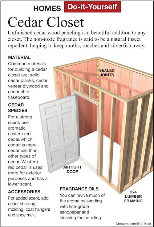 Dear James: I have always liked cedar closets and want to add a small one in my bedroom. How do I build a closet with cedar wood and how do I maintain the cedar scent for years...