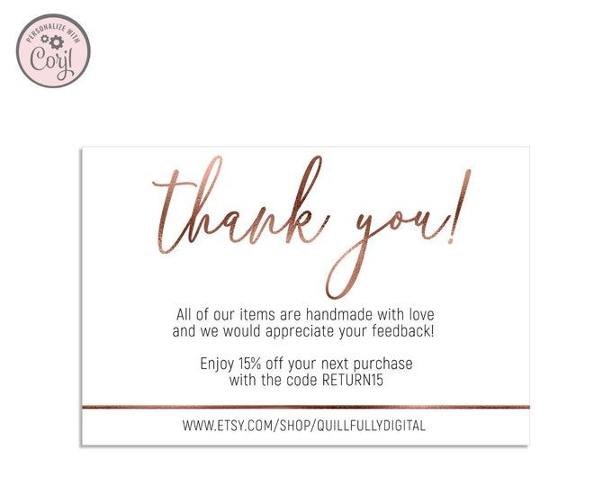 Printable Thank You Card Thank You For Your Purchase Cards Etsy Printable Thank You Cards Thank You Cards Purchase Card