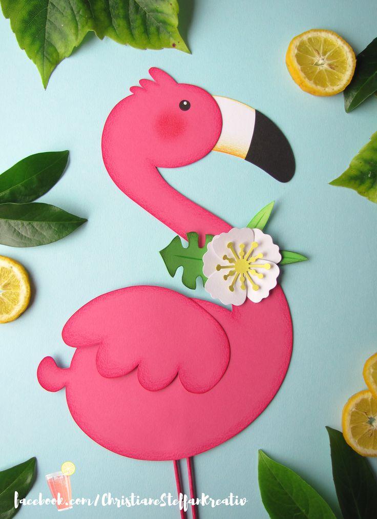 fensterbild flamingo  basteln herbst fensterbild